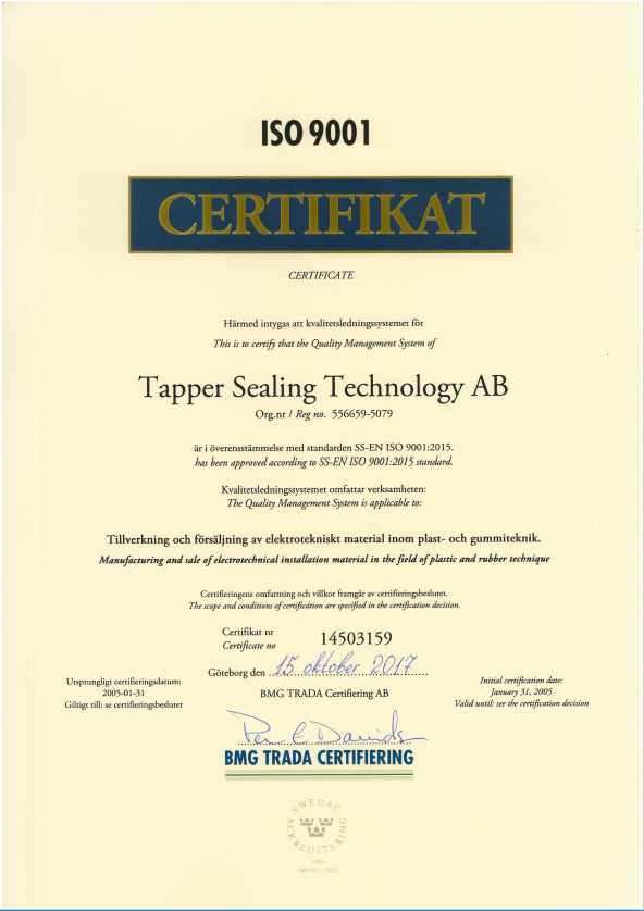 ISO 9001 2015 for tapper sealing technology