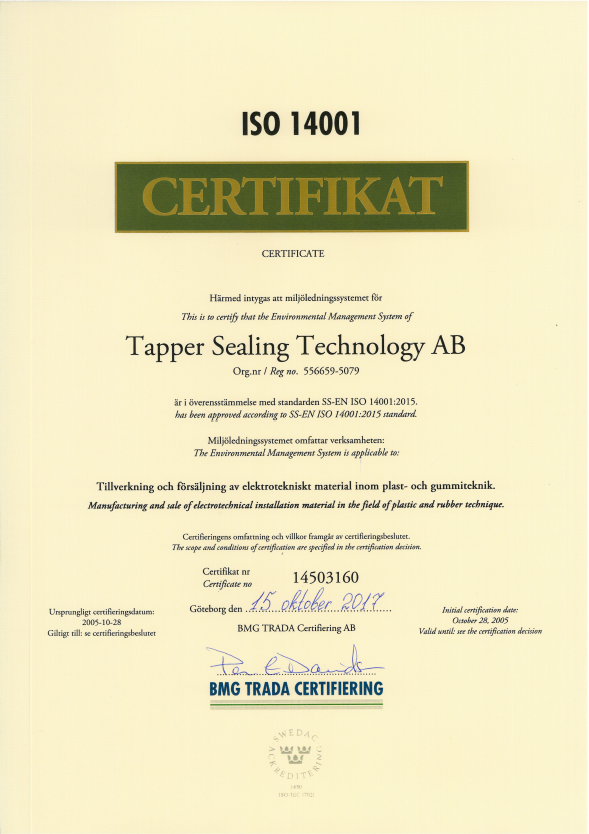 ISO 14001 2015 for tapper sealing technology